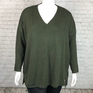 Style & Co Olive Green V Neck Sweater Size 3X